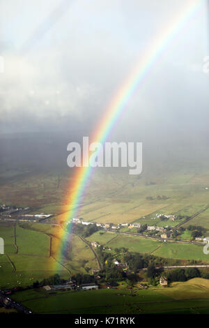 aerial view of a rainbow, UK - Stock Photo