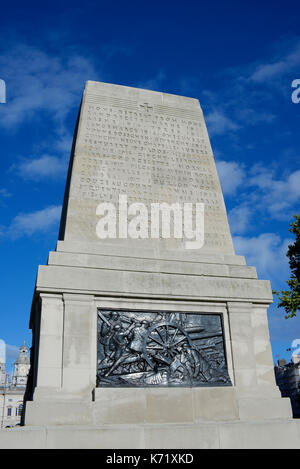 Guards Division War Memorial, or Guards Memorial, rear view, in Horse Guards Road, London, UK. Space for copy - Stock Photo