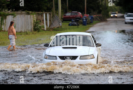 Elfers, United States. 13th Sep, 2017. September 13, 2017- Elfers, Florida, United States - A car is driven through - Stock Photo