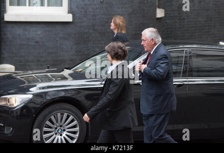 London, United Kingdom. 14 September 2017. US Secretary of State, Rex Tillerson, arrives at 10 Downing Street. Credit: - Stock Photo