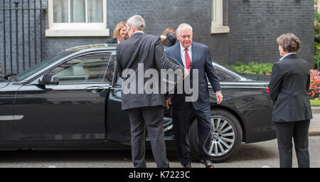 10 Downing Street, London UK. 14 September, 2017. US Secretary of State, Rex Tillerson, arrives at No 10 for a brief - Stock Photo