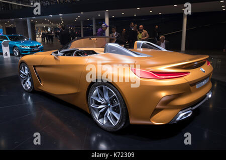 Frankfurt, Germany. 13th Sep, 2017. New BMW Concept Z4 sports car presented at the Frankfurt IAA Motor Show 2017. - Stock Photo
