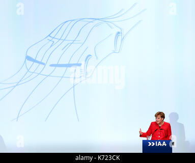 Frankfurt, Germany. 14th Sep, 2017. German Chancellor Angela Merkel addresses the opening ceremony of the 67th Frankfurt - Stock Photo