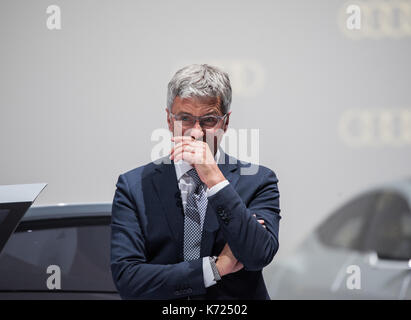 Frankfurt Main, Germany. 14th Sep, 2017. Audi chairman Rupert Stadler gestures at the Audi fair stand at the International - Stock Photo