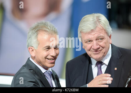 Frankfurt, Germany. 14th Sep, 2017. Peter Feldmann and Volker Bouffier at the 67th IAA International Motor Show - Stock Photo