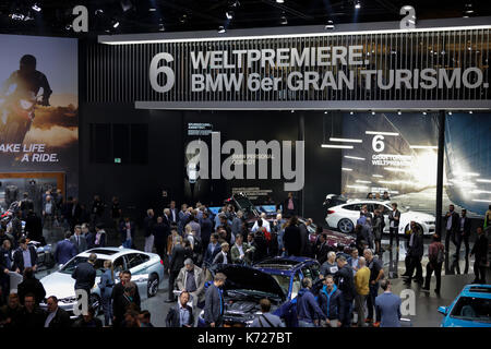 Frankfurt, Germany. 14th September 2017. Visitors look at the vehicles at the BMW  booth. The 67. Internationale - Stock Photo