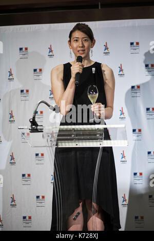 Tokyo, Japan. 14th Sep, 2017. Yuriko Koike at French embassy September 14, 2017: Yukiko Ebata cheers at French Embassy - Stock Photo