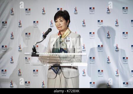 Tokyo, Japan. 14th Sep, 2017. Yuriko Koike at French embassy September 14, 2017: Koike Yuriko, Governor of Tokyo - Stock Photo