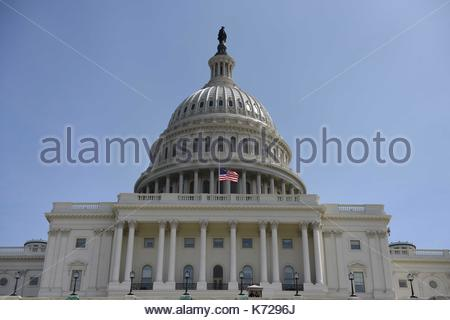 Washington, USA. 11th Sep, 2017. The United States Congress flies a flag at half-mast to mark the 16th anniversary - Stock Photo