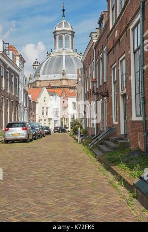 Quiet street near the Oostkerk in Middelburg - Stock Photo