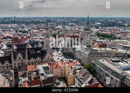 Marienplatz and historical downtown of Munich, a view from Frauenkirche - Stock Photo