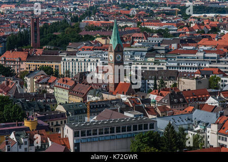 Cityscape of Munich, a view from Frauenkirche - Stock Photo