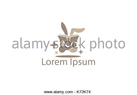 Sweet bunny holding a book - Stock Photo