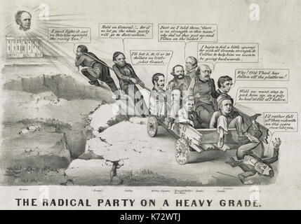.The Radical Party on a heavy grade - An election-year cartoon, predicting the victory of former New York governor - Stock Photo