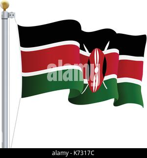 Waving Kenya Flag Isolated On A White Background. Vector Illustration. - Stock Photo