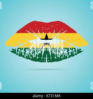 Ghana Flag Lipstick On The Lips Isolated On A White Background. Vector Illustration. - Stock Photo