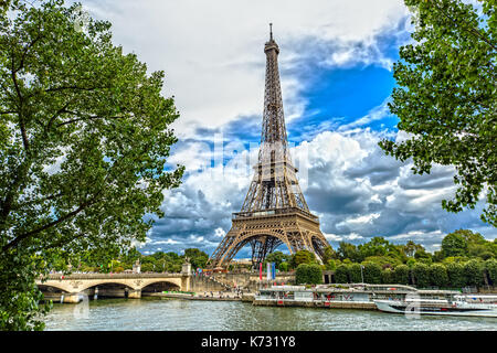 View over the Eiffel Tower in Paris - Stock Photo