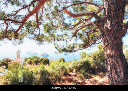 Lighthouse Gelidonya Peninsula in spring. Beautiful landscapes outdoors in Turkey and Asia. The landscape in the - Stock Photo