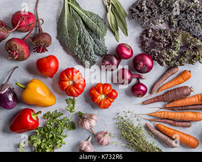Vegetables and herbs background - Stock Photo