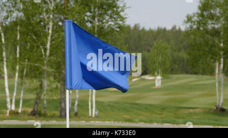 Blue flag waving over the sky. Blue flag waving on the wind - Stock Photo