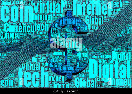 Digital virtual money bit coin concept made only from words about the subject. - Stock Photo