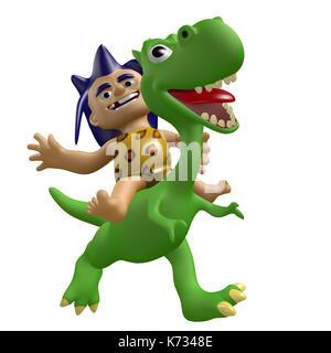 Cartoon savage boy rides on a cute dinosaur. 3D illustration. Funny cheerful characters. - Stock Photo