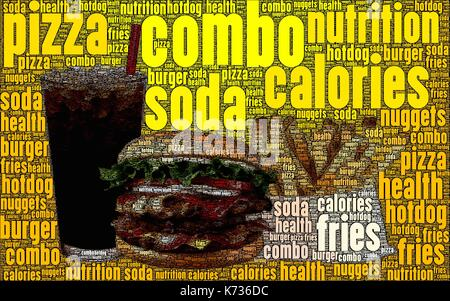 Fast food word art, made only from words about it. - Stock Photo