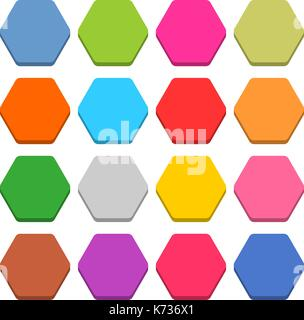 16 blank icon in flat style. Sexangle 3D button on white background. Blue, red, yellow, gray, green, pink, orange, - Stock Photo