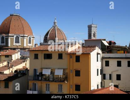 The Dome of Church of San Lorenzo with Dome of Cathedral Santa Maria del Fiore and Giotto's Bell Tower in Florence, - Stock Photo
