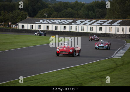 Freddie March memorial Trophy race at Goodwood Revival 2017 Meeting, Goodwood race track, West Sussex, England, - Stock Photo
