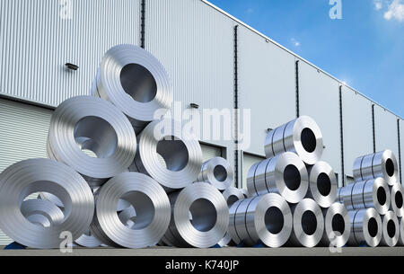 3d rendering rolls of steel sheet in warehouse - Stock Photo