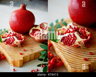Fresh juicy pomegranate on a light background. On the wooden end of it. Next brush the ash. Healthy eating.Vegetarianism. Collage Stock Photo