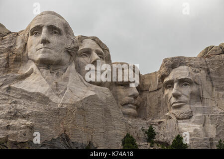 Mount Rushmore - US president's faces carved into rock. - Stock Photo