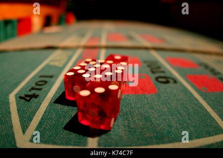 Dice on Craps Table - Stock Photo
