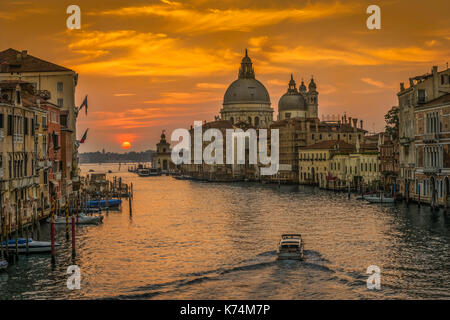 Sunrise photo from Academia bridge over Grand Canal in Venice. - Stock Photo