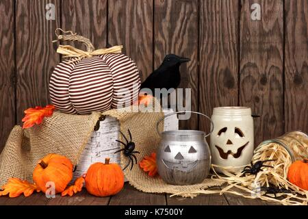 Rustic Shabby Chic Halloween Decor Against An Aged Wood Background