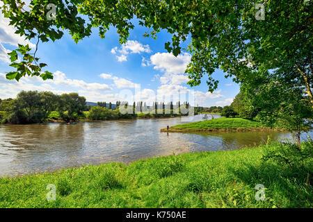 Weser near Höxter, Weserbergland, North Rhine-Westphalia, Germany - Stock Photo