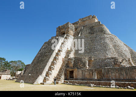 Adivino pyramid or pyramid of the fortune teller, Mayan site, Uxmal, Yucatán, Mexico - Stock Photo