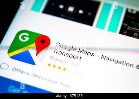 Google Maps App in the Apple App Store, navigation, app icon, display on a screen of a mobile phone, iPhone, iOS, - Stock Photo