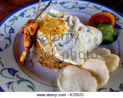 Fried Rice with Chicken Satay - Stock Photo