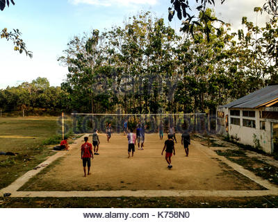 People Playing Volleyball in Central Java Village, Indonesia - Stock Photo