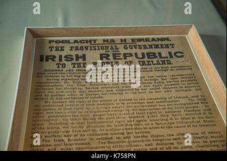 Framed Proclamation of the Irish Republic - Stock Photo