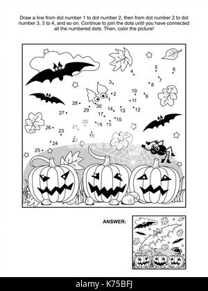 Connect the dots picture puzzle and coloring page - Halloween scene with bats, pumpkins, spider and spiderweb. Answer - Stock Photo