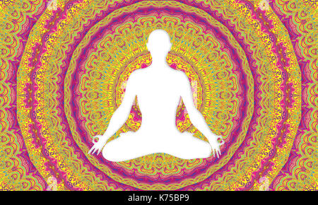 White silhouette of man doing yoga in lotus flower position with multicolored mandala background - Stock Photo