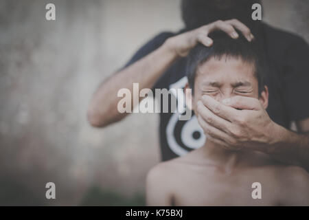 Human trafficking, Stop abusing child violence, Human rights Day concept. - Stock Photo
