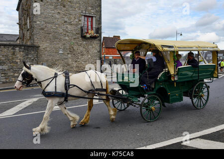 Horse drawn carriage in main street of Limerick Town, County Limerick, Republic of Ireland - Stock Photo