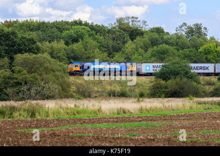 GBRf Class 66 (GB Railfreight). GBRf diesel freight train 66709  travelling through the British countryside,  MSC - Stock Photo