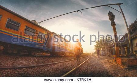 Sunset in Java Island Railway, Indonesia - Stock Photo