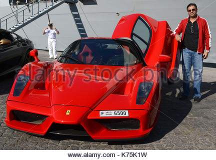 Gathering Of Ferrari Cars On The Quay Of Port Rashid In Dubai.