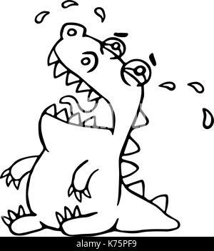 Cute crying dragon. Vector illustration. Funny cartoon character. - Stock Photo